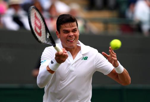 Canada's Milos Raonic during his Wimbledon men's singles quarter-final against Nick Kyrgios. Photo: Clive Brunskill/Getty Images