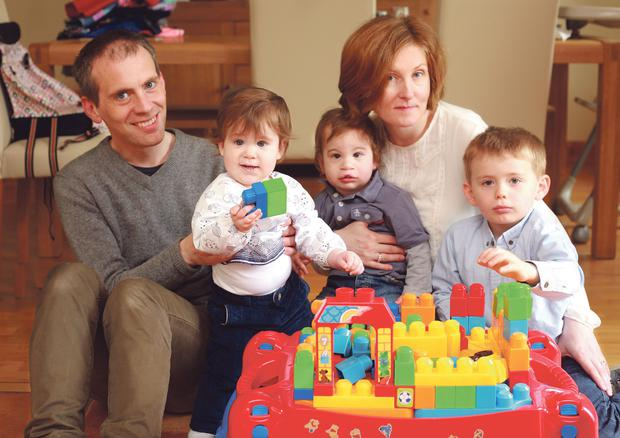 Family values: Ed Power and his wife, Mary, twins Fiona and Cathal, and Niall