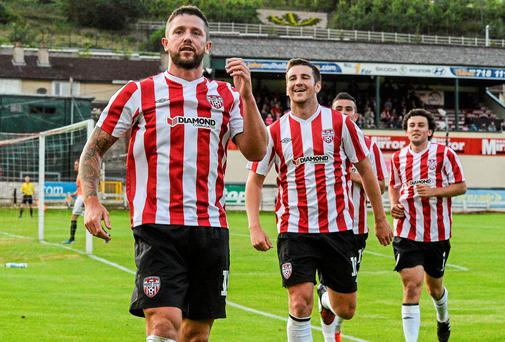 Rory Patterson celebrates after scoring Derry City's second goal against Aberystwyth Town in the UEFA Europa League first qualifying round tie at the Brandywell. Photo: David Maher / SPORTSFILE