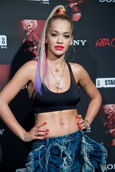 Singer Rita Ora poses for the photographers before her concert at the Joy Eslava Club