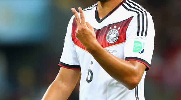 Sami Khedira of Germany reacts during the 2014 FIFA World Cup Brazil Round of 16 match between Germany and Algeria