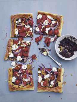 ROASTED RED PEPPER AND GOAT'S CHEESE TART, featured in Chilli Notes by Thomasina Miers