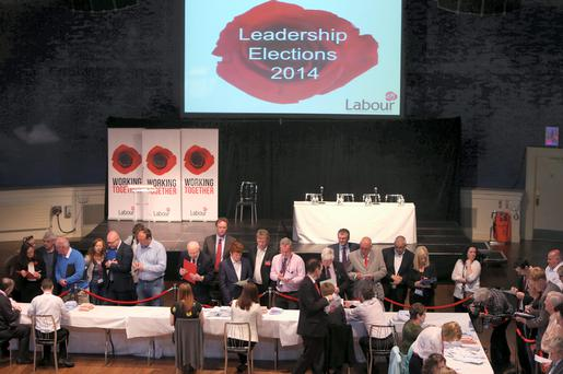 Votes are counted in the Labour leadership elections in the Mansion House. Photo: Damien Eagers