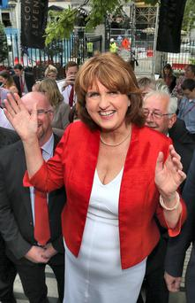 04/07/14 Newly elected Labour Leader, Joan Burton at the Mansion House, Dublin this evening after she was announced as new leader for the Labour Party Leadership elections this afternoon ....Picture Colin Keegan, Collins Dublin.