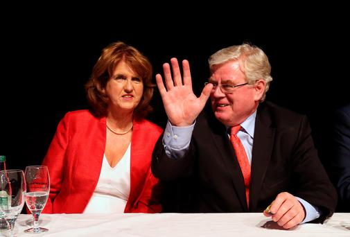 Newly elected Labour Leader, Joan Burton with outgoing leader, Eamon Gilmore at the Mansion House, Dublin this evening after she was announced as new leader. Picture Colin Keegan, Collins Dublin