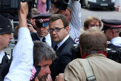 Former Editor of the News of the World Andy Coulson arrives for the sentencing at the Old Bailey court house in London. Reuters
