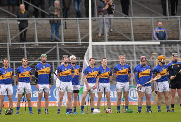 Tipperary players line up for the national anthem prior to the league game against Kilkenny this year. Photo: Pat Murphy / SPORTSFILE