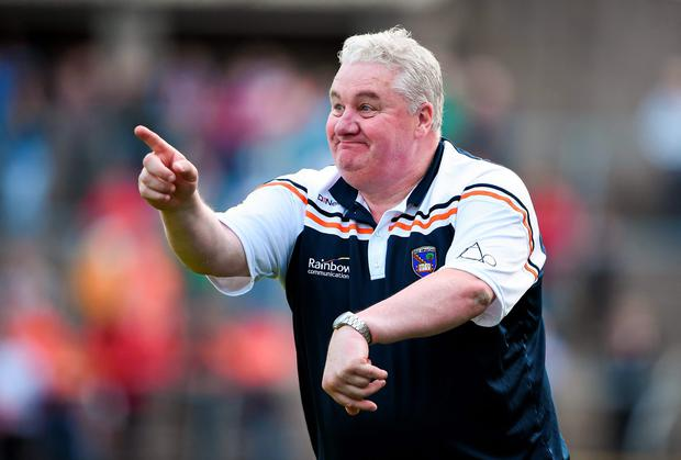 Armagh manager Paul Grimley gestures during his team's draw against Monaghan. Photo: Brendan Moran / SPORTSFILE