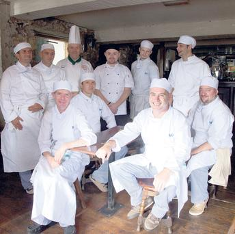CMK 25062014 Irish Independent Features Chef Don Bulman with studetns from Cork Simon's Fetac Level 3 Culinary Operations Class in An Spailpín Fanac, Cork City. Picture: Clare Keogh