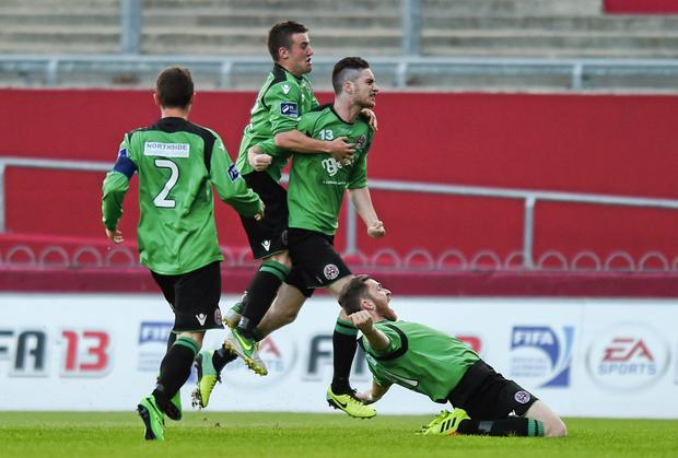 Bohemians' Kevin Devaney, second from right, celebrates with team-mates after scoring his side's second goal. SSE Airtricity League Premier Division, Limerick FC v Bohemians, Thomond Park, Limerick. Picture credit: Diarmuid Greene / SPORTSFIL