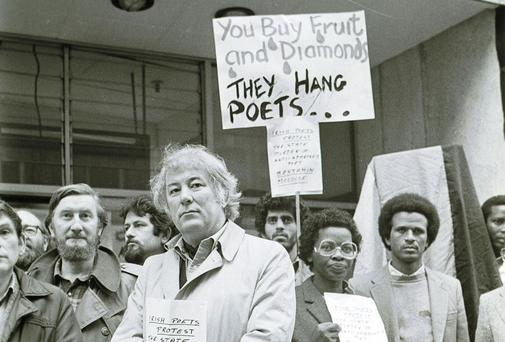 BATTLEGROUND: Seamus Heaney joins Dunnes Stores workers on an anti-apartheid protest in 1985. Photo: Eamonn Farrell