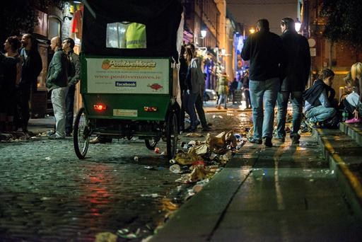 The remnants of Arthur' s Day in Temple Bar last year.