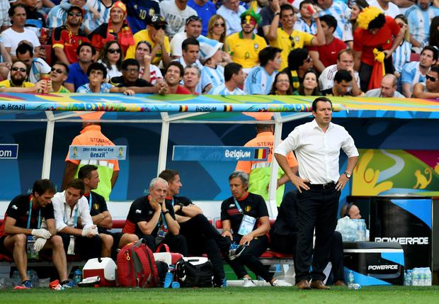 Belgium's coach Marc Wilmots says that the referee favoured Argentina throughout the quarter-final
