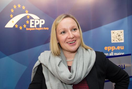 24th October 2013 - Brussels, Belgium - Pictured at the summit of the European Peoples Party (EPP) prior to the European Council meeting were, left to right, Lucinda Creighton T.D. Photo by Peter Cavanagh [Must Credit]