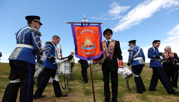 Marchers at the annual Orange Order parade through Rossnowlagh, Co Donegal, yesterday