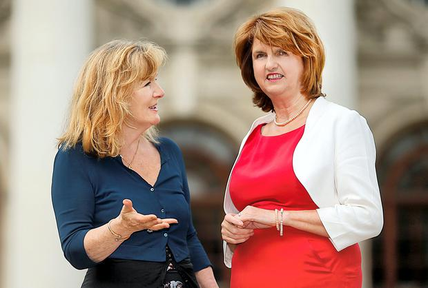HAND OF HISTORY: Joan Burton, the new Tanaiste, and first female Labour leader, talks to Anne Harris. Photo: Gerry Mooney