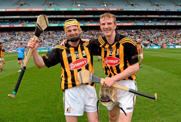 Kilkenny players John Walsh (left) and Sean Morrissey celebrate their victory over Dublin in the Leinster MHC final at Croke Park. Photo: Stephen McCarthy / SPORTSFILE