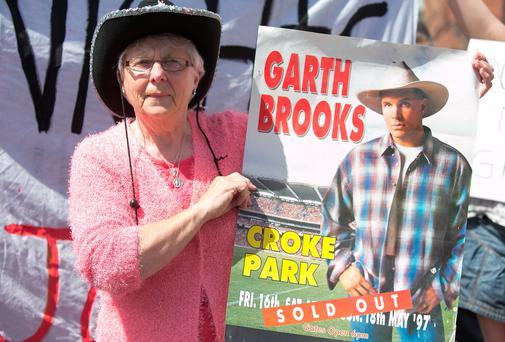 Ballybough resident Maire Gorman who attended The Garth Brooks 1997 concert campaigning for 5 Garth Brooks Concerts in Croke Park on Clonliffe Road, Dublin Photo: Gareth Chaney Collins