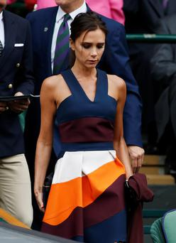 Victoria Beckham arrives in the Royal Box on Centre Court