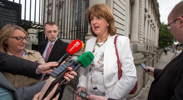 Newly elected Tanaiste Joan Burton arriving at the Taoiseach's office this morning. Photo: Mark Condren