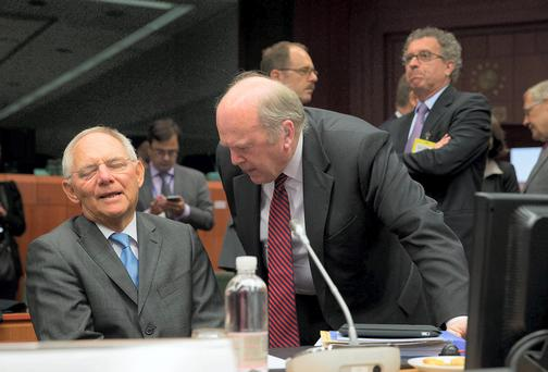 Pictured at the Eurogroup meeting of EU eurozone finance ministers were, left to right, Wolfgang Schauble, Finance Minister, Germany and Michael Noonan. Photo: Peter Cavanagh