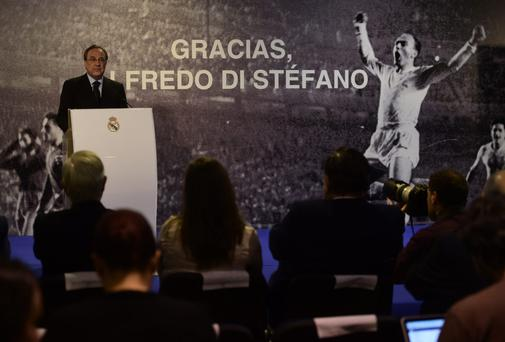 Real Madrid's President Florentino Perez gives a press conference following the death of Real Madrid's legend Alfredo di Stefano