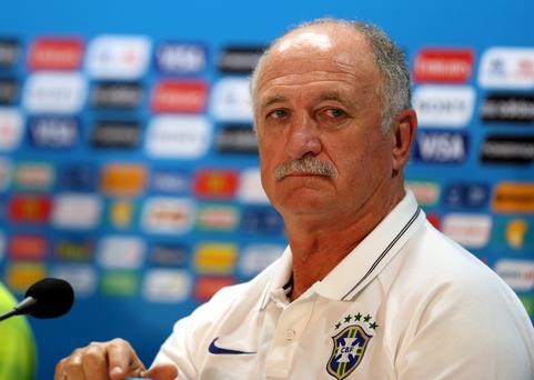 Brazil coach Luiz Felipe Scolari during the press conference at Estadio Mineirao, Belo Horizonte
