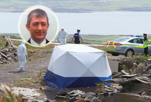 The scene where the body of 41-year-old Adrian Folan (inset) was discovered
