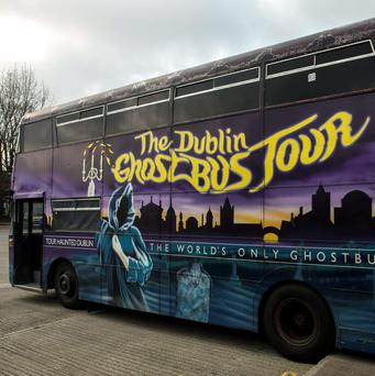 The old Dublin Ghost Bus is among those available