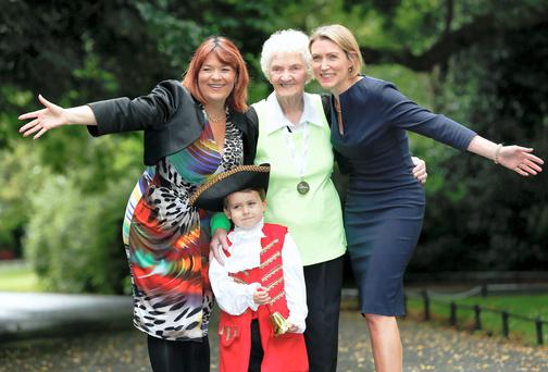 Pictured at the launch of 'Hidden Hearing Heroes Awards 2014' was Radio Broadcaster Brenda Donohue, 'town crier' Kyle Doyle (age 4), Dr. Nina Byrnes, Medical Advisor to Hidden Hearing and running veteran Maureen Armstrong. Picture Conor McCabe Photography.