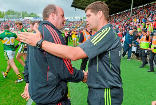 Cork manager Brian Cuthbert was given a tactical lesson by Kerry boss Eamonn Fitzmaurice last Sunday. Photo: Diarmuid Greene / SPORTSFILE