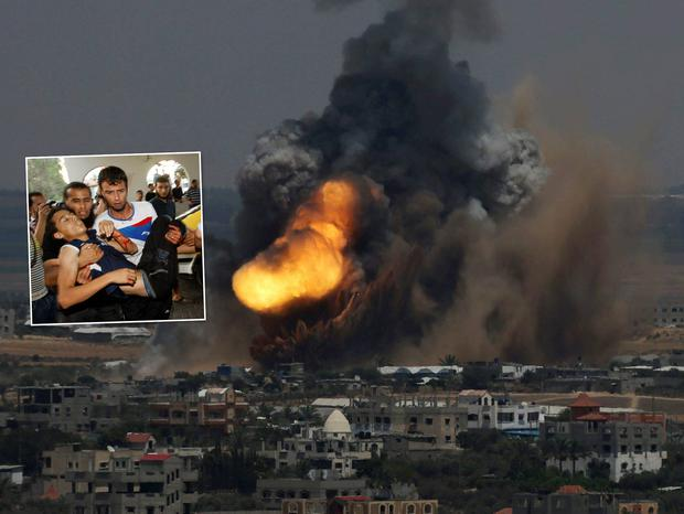 Smoke and flames are seen following what police said was an Israeli air strike in Rafah in the southern Gaza Strip. At least 16 people were killed in strikes across Gaza on Tuesday. Inset: People carry a Palestinian whom medics said was wounded in an Israeli air strike. Reuters