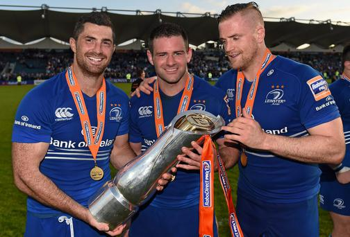 Leinster's Rob Kearney, Fergus McFadden and Jamie Heaslip with the Pro12 trophy after their victory in last year's final against Glasgow Warriors. Photo: Stephen McCarthy / SPORTSFILE