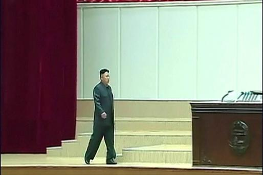 North Korean leader Kim Jong Un arrives for a commemoration ceremony to mark the 20th anniversary of the death of its first leader, Kim Il Sung, in Pyongyang, North Korea. (AP Photo/KRT via AP Video)