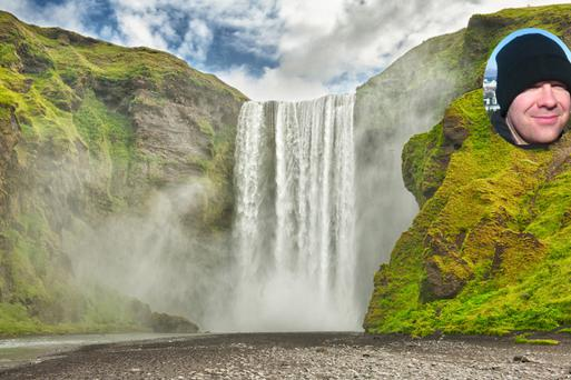 The Skogafoss waterfall in Iceland. Neil Delamare did not eat it.
