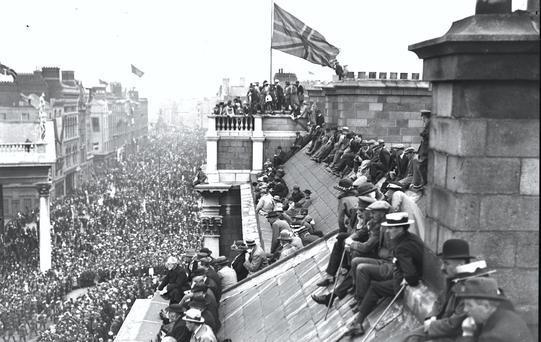 A Victory Parade in Dublin in 1919