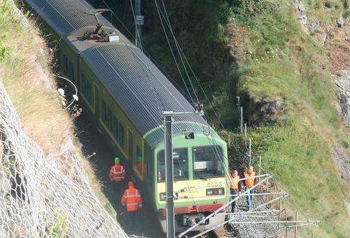 The DART train after it was derailed by rocks on the line. Picture: Mark Doyle