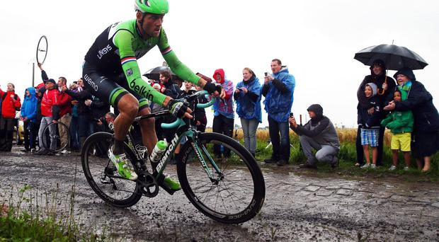 Belkin's Dutch rider Lars Boom in action during his victory on the fifth stage of the Tour de Francein Porte du Hainaut. Photo: Bryn Lennon/Getty Images