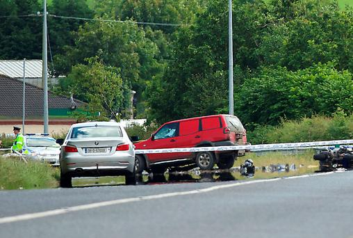 The scene of the fatal road accident on the N2 between Castleblayney and Carrickmacross in Co. Monaghan, in which father-of-five Mark Downey died. Picture: Philip Fitzpatrick