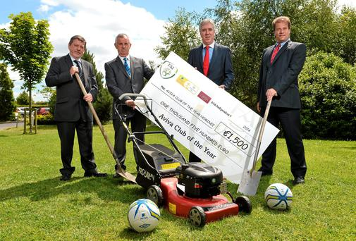 FAI chief executive John Delaney (second right) with (from left) Donal Conway, judge for the Aviva FAI Club of the Year, Eamonn Mahon, honourary secretary of Home Farm FC, and Mark Russell of Aviva, at the Aviva FAI Club of the Year Nominees lunch. Photo: David Maher / SPORTSFILE