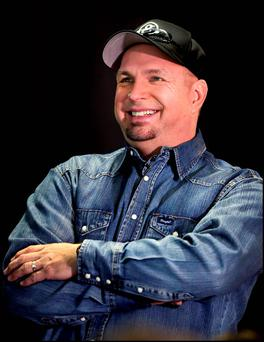 Singer Garth Brooks on the pitch at Croke Park after announcing his series of comeback gigs. Photo: Steve Humphreys
