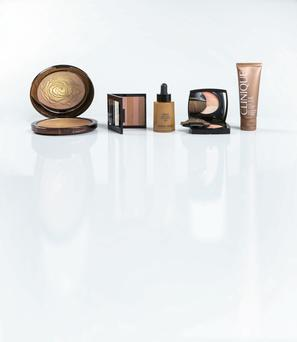 Pictured, from left: Lancome Star Bronzer Face & Body in Golden Riviera; Revlon Highlighting Palette in Bronze Glow; Giorgio Armani Maestro Liquid Summer Bronzer in No 1; Chanel Les Beiges Healthy Glow Multi-Colour in No 1; Clinique Self Sun Face Bronzing Gel Tint