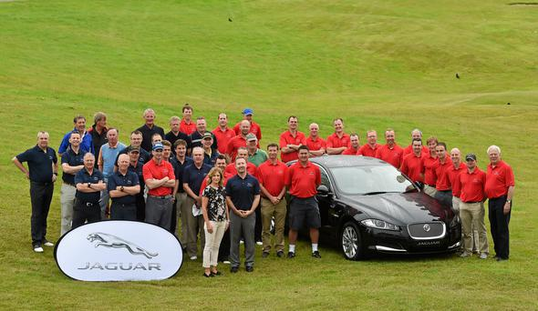 4 July 2014; A group shot before the start of the 4th of July Charity Golf Event today. Sponsored by Jaguar Ireland the Inaugural Jaguar Golf Classic for the Irish Youth Foundation took place in the prestigious K-Club in Straffan, Co. Kildare. Picture credit: Matt Browne / SPORTSFILE *** NO REPRODUCTION FEE ***