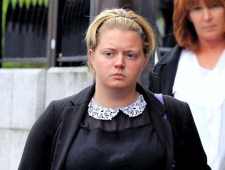 O'HARA; (LYDIA); JURY OUT........VERDICT.......AWAITED IN HER ACTION FOR DAMAGES AGAINST HER FORMER SECONDARY SCHOOL AND THE GARDA COMMISSIONER FOR RECKLESS INFLICTION OF EMOTIONAL HARM, HIGH COURT, DUBLIN, (10/7/14).***See Hi Ct story. Pic. shows: Lydia O'Hara, (25 yrs.), a mother of one from Portlaoise, pictured at court during the hearing of her action for damages against her former secondary school and the Garda Commissioner. (Pic: CourtPix.)