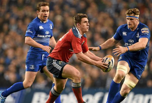 Leinster duo Eoin Reddan and Jamie Heaslip close down Munster's Ian Keatley during last season's Pro12 clash at the Aviva Stadium. Picture credit: Brendan Moran / SPORTSFILE
