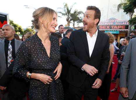 "Actors Cameron Diaz (L) and Jason Segel attend the premiere of Columbia Pictures' ""Sex Tape"" at Regency Village Theatre"