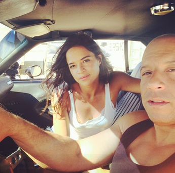 Michelle Rodriguez posted a pic to her Instagram account on the last day of filming with Vin Diesel on 'Fast & Furious 7'