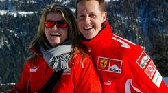 Michael Schumacher and his wife Corinna during his time at Ferrari. Photo: Getty Images