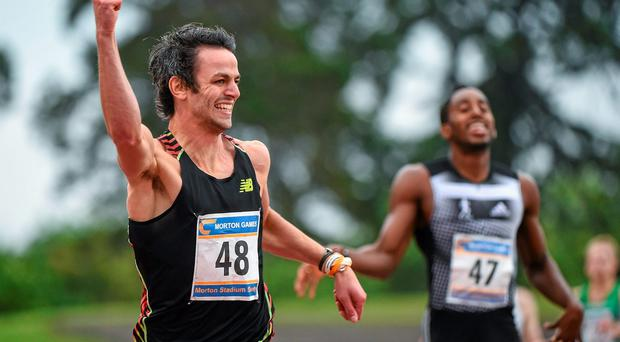 Ireland's Thomas Barr celebrates after winning the mens' 400m hurdles event at the Morton Games. Photo: Ramsey Cardy / SPORTSFILE