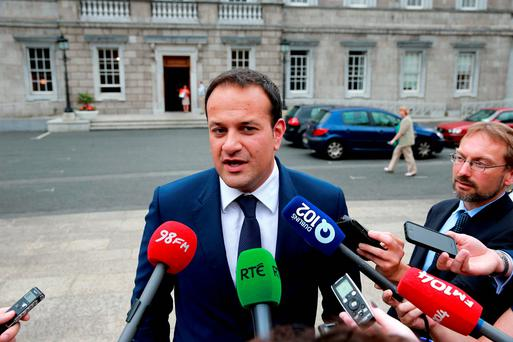 Minister Leo Varadkar speaking to the press on the Plinth at Leinster House about his new position as Minister for Health. Photo: Arthur Carron